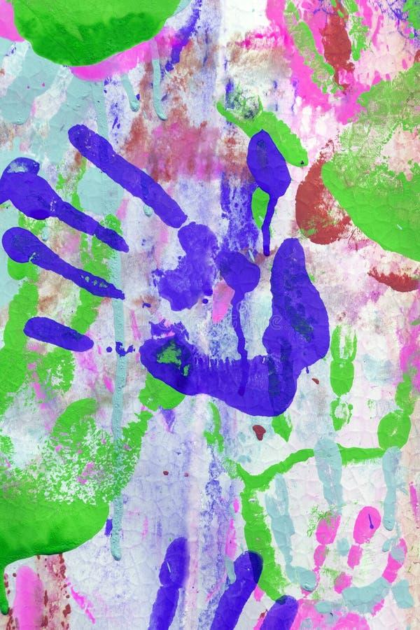 Τυπωμένες ύλες χρώματος των χεριών r colored hand prints στοκ εικόνες