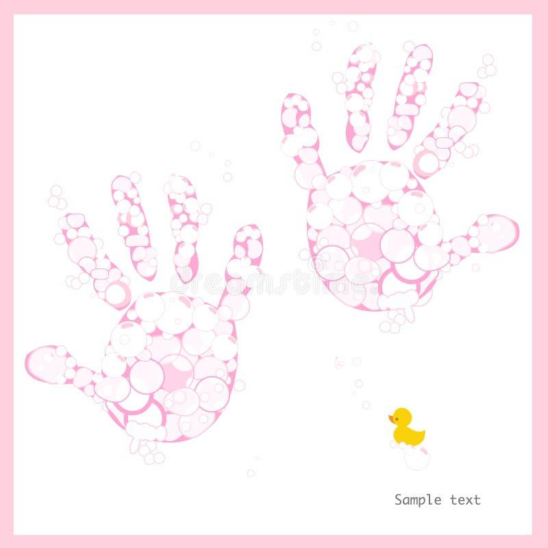 Τυπωμένες ύλες χεριών κοριτσάκι με τις φυσαλίδες και την πάπια σαπουνιών ελεύθερη απεικόνιση δικαιώματος