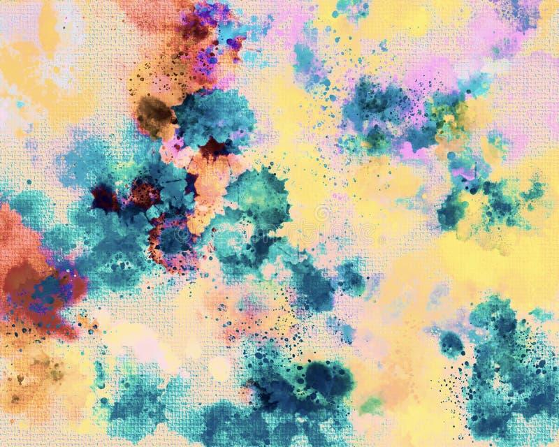 Τυπωμένη ύλη καμβά Ακρυλικός λεκές χρωμάτων Δημιουργικό αφηρημένο χρωματισμένο χέρι υπόβαθρο Ακρυλικά κτυπήματα ζωγραφικής στον κ ελεύθερη απεικόνιση δικαιώματος