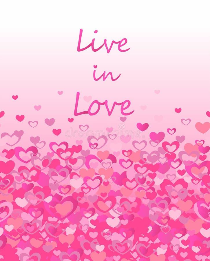 Τυπωμένη ύλη με τη ζωντανή ερωτευμένη εγγραφή και τα άνευ ραφής σύνορα με τις ρόδινες καρδιές για την αφίσα κομμάτων, σχέδιο μόδα απεικόνιση αποθεμάτων