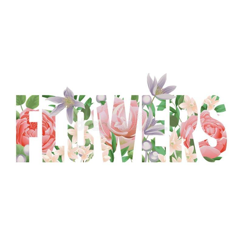 Τυπωμένη ύλη μπλουζών λουλουδιών με τις επιστολές και το floral σχέδιο απεικόνιση αποθεμάτων