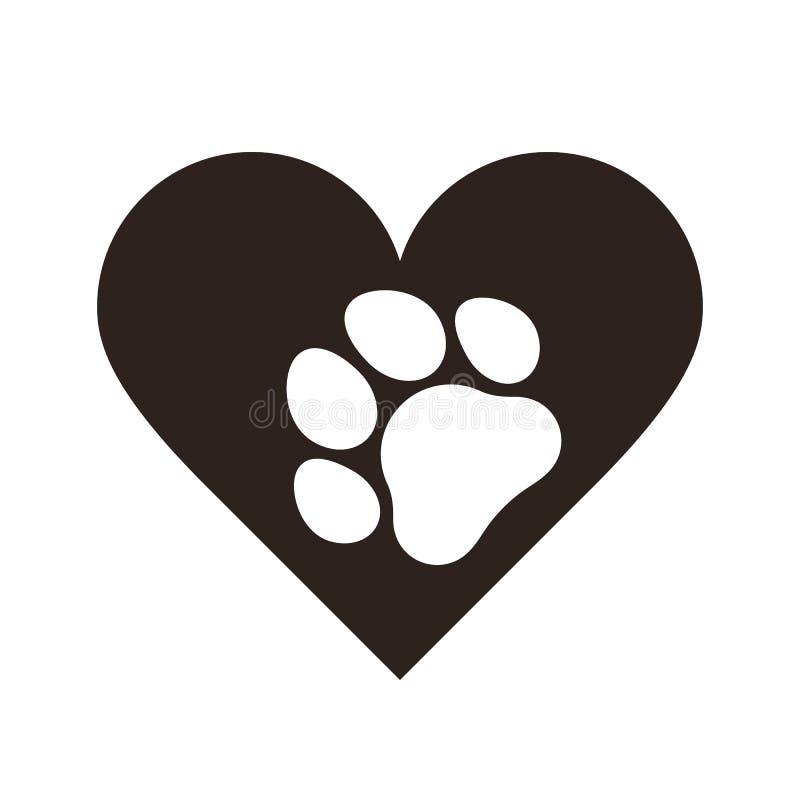 Τυπωμένη ύλη ποδιών της Pet στην καρδιά απεικόνιση αποθεμάτων