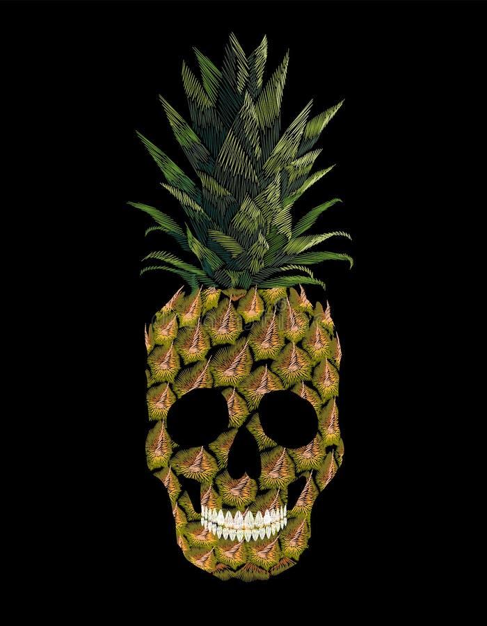 Τυπωμένη ύλη τ-φουστών ανανά κρανίων κεντητικής Το μπάλωμα διακοσμήσεων μόδας κέντησε τη μίμηση Κίτρινα εξωτικά φρούτα τροπικά απεικόνιση αποθεμάτων