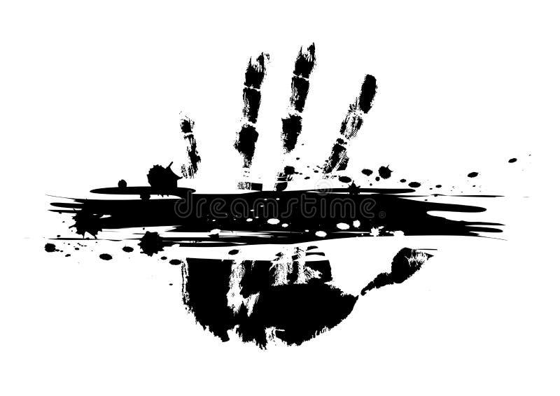 Τυπωμένη ύλη χεριών με το μελάνι splatter ελεύθερη απεικόνιση δικαιώματος