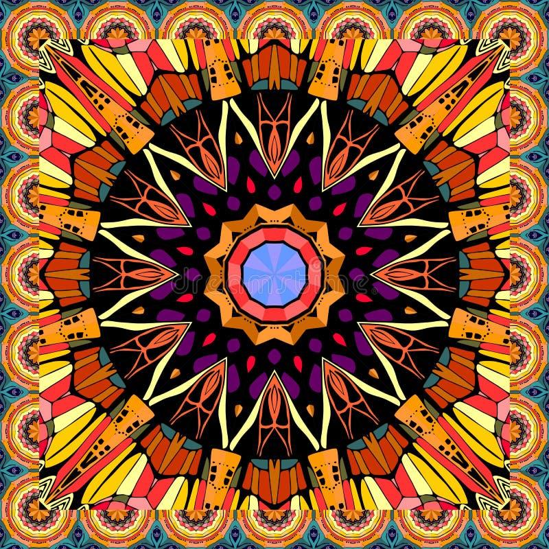 Τυπωμένη ύλη Bandana με το mandala λουλουδιών στο διάνυσμα Ζωηρόχρωμο χαλί για τη γιόγκα Πετσέτα, μαξιλάρι, τραπεζομάντιλο ελεύθερη απεικόνιση δικαιώματος