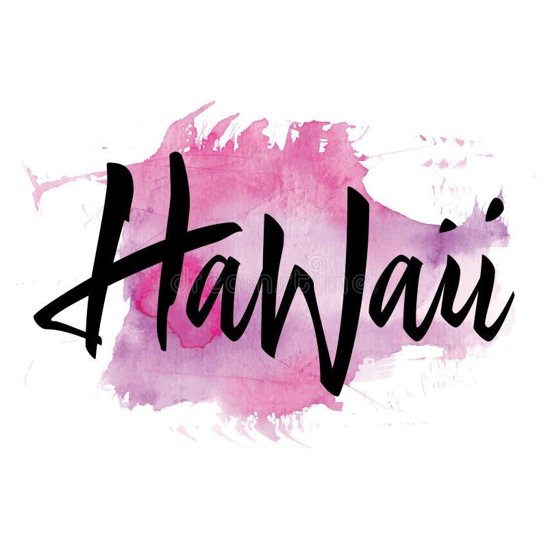 Τυπωμένη ύλη για την μπλούζα Χαβάη Εγγραφή χεριών επίσης corel σύρετε το διάνυσμα απεικόνισης διανυσματική απεικόνιση