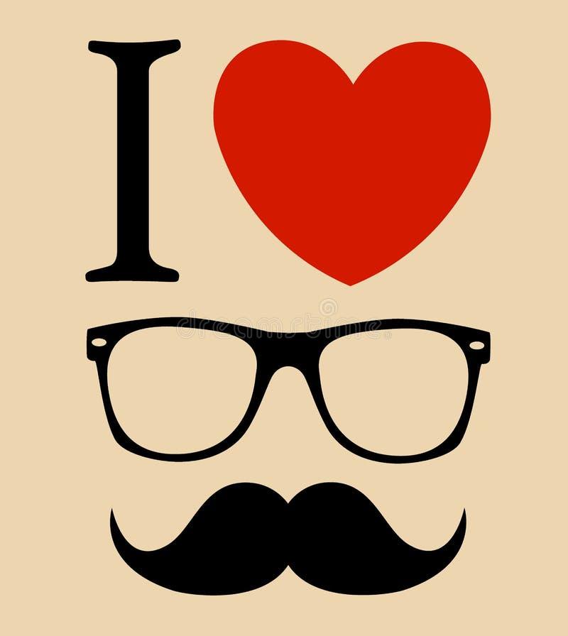 Τυπωμένη ύλη Ι ύφος Hipster αγάπης, γυαλιά και mustaches.  υπόβαθρο διανυσματική απεικόνιση