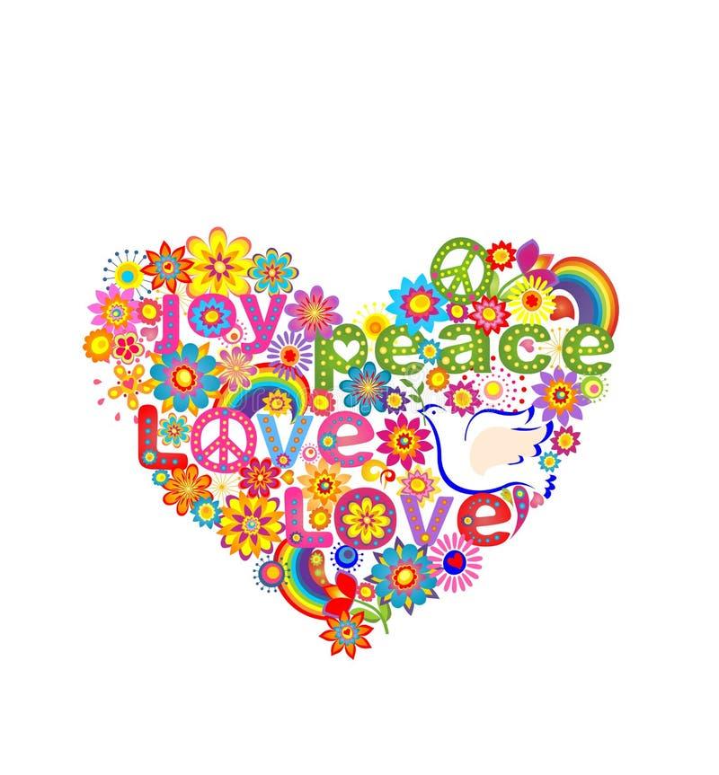 Τυπωμένη ύλη καρδιών χίπηδων με το περιστέρι, το σύμβολο ειρήνης και το ουράνιο τόξο απεικόνιση αποθεμάτων