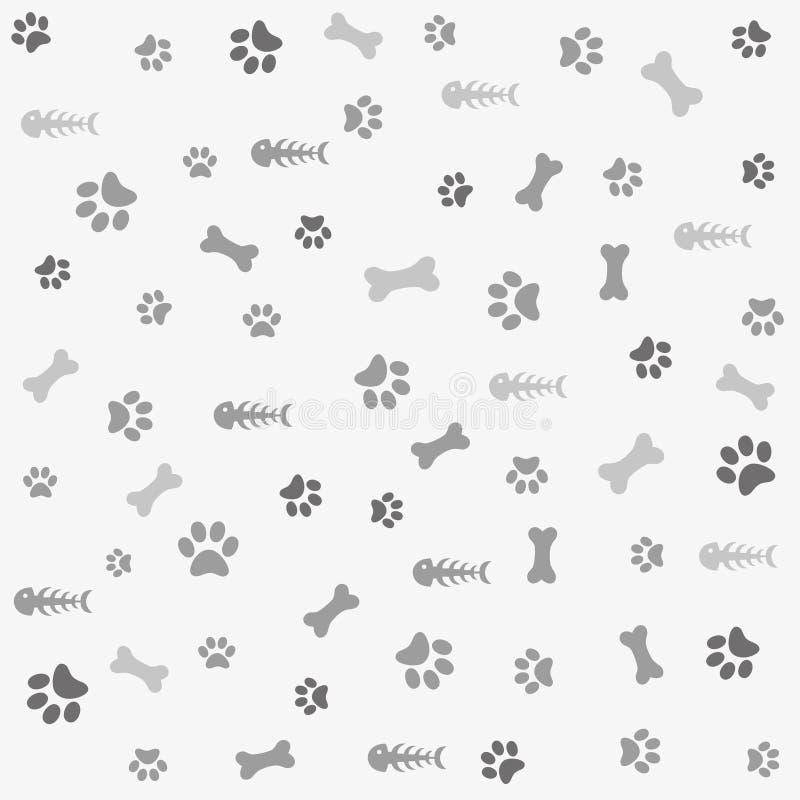 τυπωμένη ύλη ποδιών σκυλιών κόκκαλων ανασκόπησης διανυσματική απεικόνιση