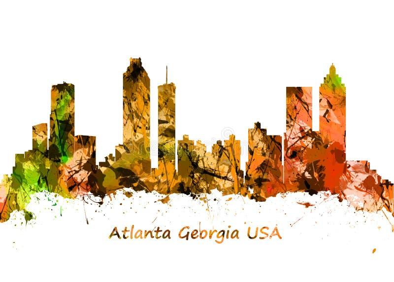 Τυπωμένη ύλη τέχνης Watercolour του ορίζοντα της Ατλάντας Γεωργία ΗΠΑ διανυσματική απεικόνιση
