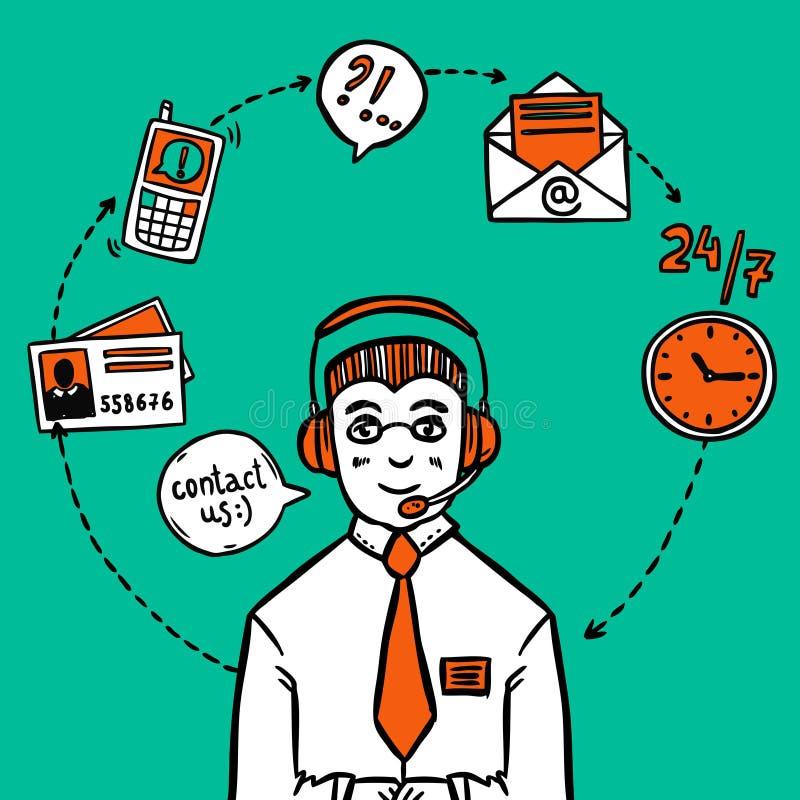 Τυπωμένη ύλη infographics υπηρεσιών υποστήριξης πελατών διανυσματική απεικόνιση