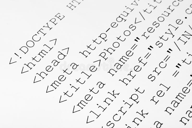 Τυπωμένος κώδικας HTML Διαδικτύου στοκ φωτογραφίες με δικαίωμα ελεύθερης χρήσης