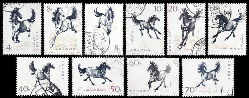 Τυπωμένο γραμματόσημο άλογο τρεξίματος στοκ εικόνα με δικαίωμα ελεύθερης χρήσης