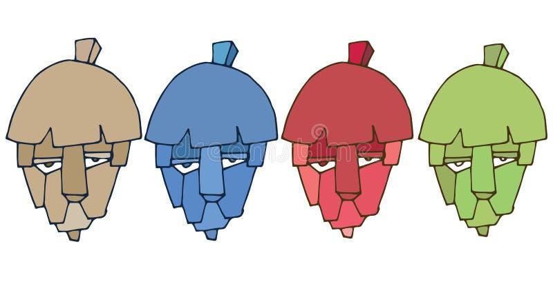 Τυπωμένων υλών κινούμενων σχεδίων το επικεφαλής λιονταριών λογότυπων χέρι χρώματος τεράτων καθορισμένο σύρει διανυσματική απεικόνιση