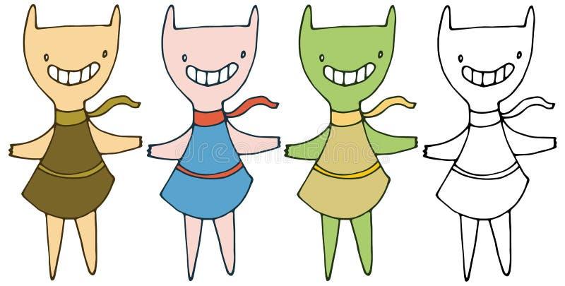 Τυπωμένων υλών χέρι κοριτσιών κινούμενων σχεδίων doodle το ευτυχές αστείο σύρει τα καθορισμένα τέρατα χρώματος διανυσματική απεικόνιση