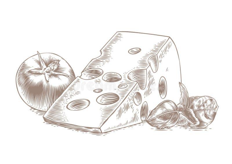 Τυρί με την ντομάτα και το βασιλικό διανυσματική απεικόνιση
