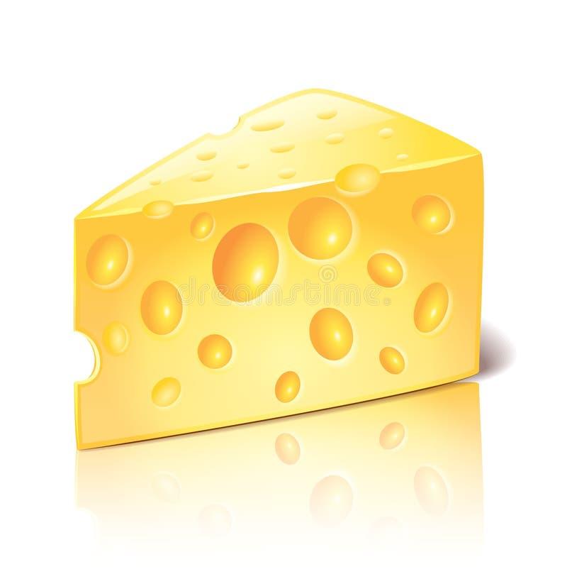 Τυρί στο άσπρο διάνυσμα διανυσματική απεικόνιση