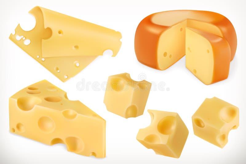 Τυρί τα εικονίδια εικονιδίων χρώματος χαρτονιού που τίθενται κολλούν το διάνυσμα τρία διανυσματική απεικόνιση
