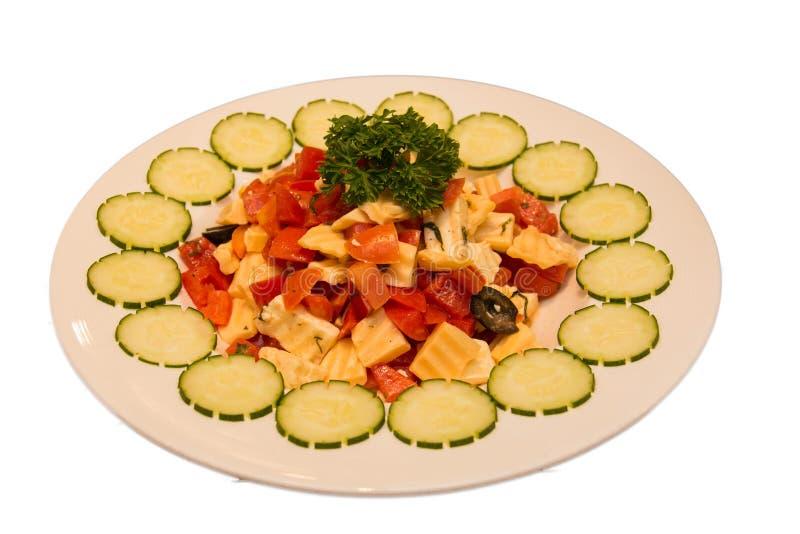 Τυρί φέτας, ντομάτες, ελιές και φέτα ζαμπόν στοκ εικόνα με δικαίωμα ελεύθερης χρήσης