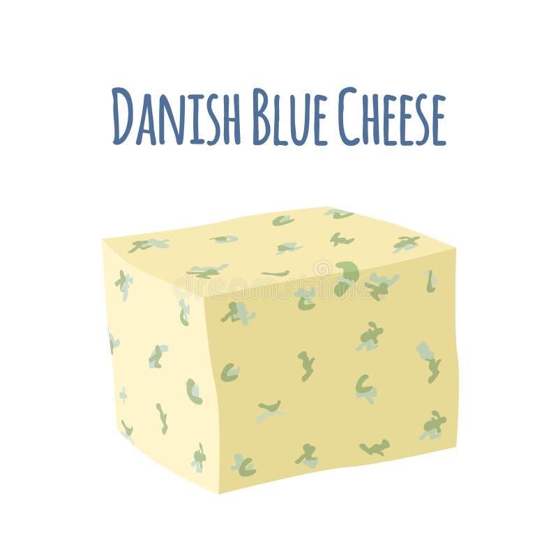 Τυρί Danablu με τη φόρμα Γαλακτοκομικό γαλακτώδες προϊόν Επίπεδο ύφος απεικόνιση αποθεμάτων