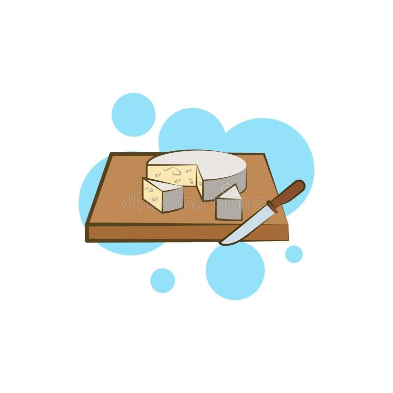 Τυρί, roquefort, μαχαίρι, nordstrom εικονίδιο Στοιχείο του εικονιδίου τυριών χρώματος απεικόνιση αποθεμάτων