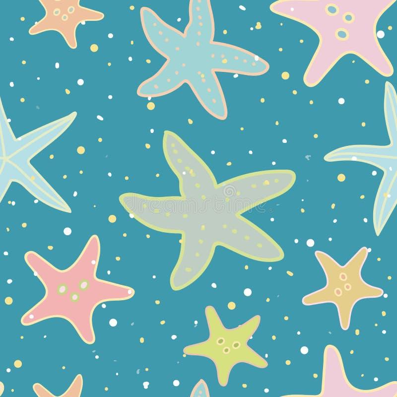 Τυρκουάζ σχέδιο με τον αστερία, το φύκι και την άμμο απεικόνιση αποθεμάτων