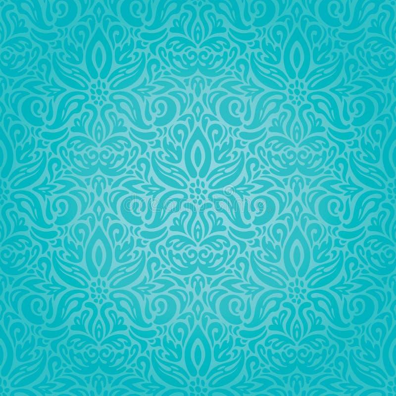 Τυρκουάζ floral διακοπών εκλεκτής ποιότητας υποβάθρου ταπετσαρία μόδας σχεδίου καθιερώνουσα τη μόδα μπλε--πράσινη απεικόνιση αποθεμάτων