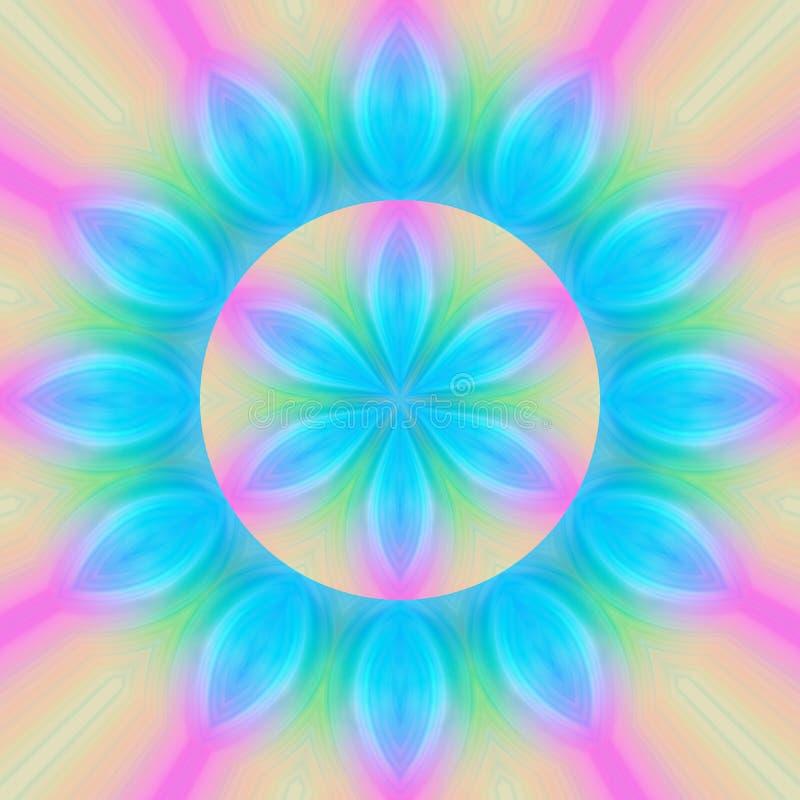 τυρκουάζ mandala λουλουδιών διανυσματική απεικόνιση