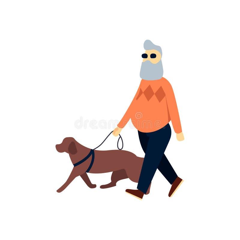 Τυφλός πρεσβύτερος με το σκυλί οδηγών Παλαιά εξασθενισμένη άτομο όραση Ηλικιωμένο πρόσωπο με την τύφλωση στον περίπατο διανυσματική απεικόνιση