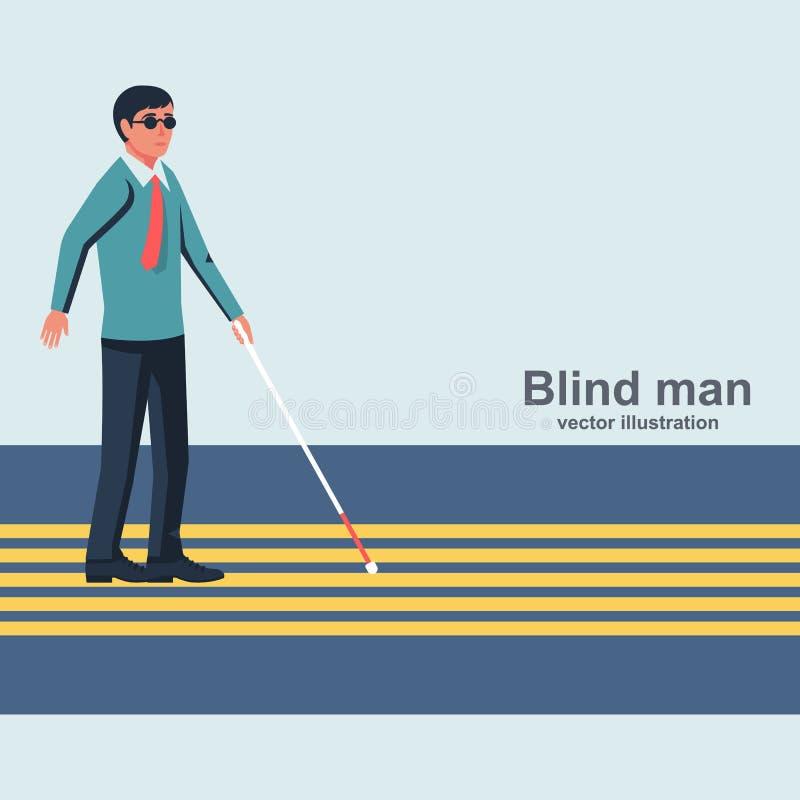 Τυφλό άτομο με έναν άσπρο κάλαμο που περπατά κάτω από την οδό διανυσματική απεικόνιση