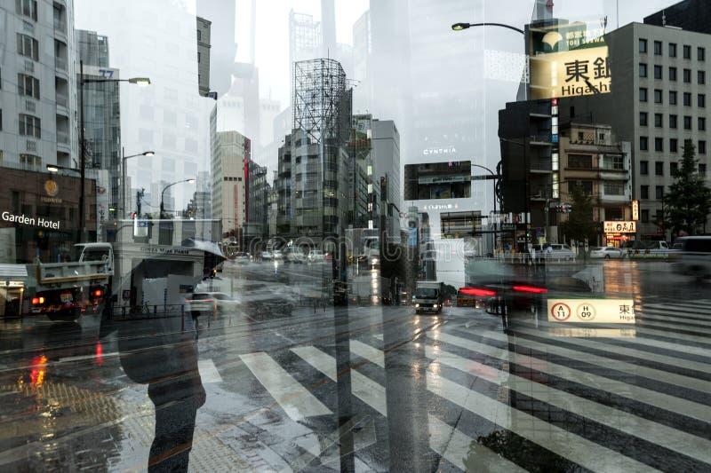 Τυφώνας σε Ginza, Τόκιο στοκ φωτογραφία με δικαίωμα ελεύθερης χρήσης