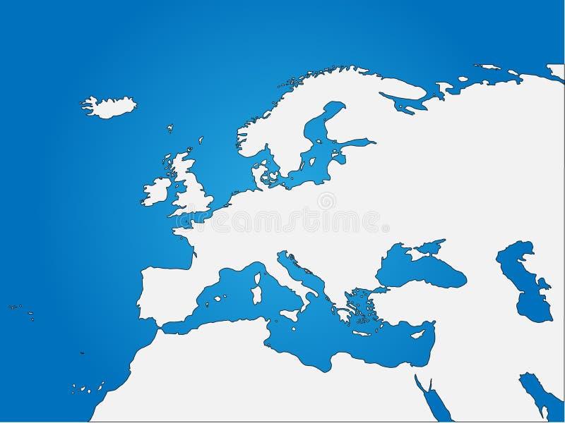 Τυφλός χάρτης της Ευρώπης & της Βόρειας Αφρικής διανυσματική απεικόνιση