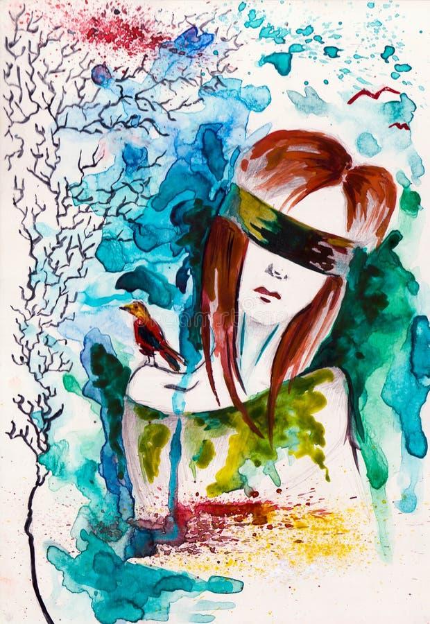 τυφλό κορίτσι στοκ φωτογραφία με δικαίωμα ελεύθερης χρήσης