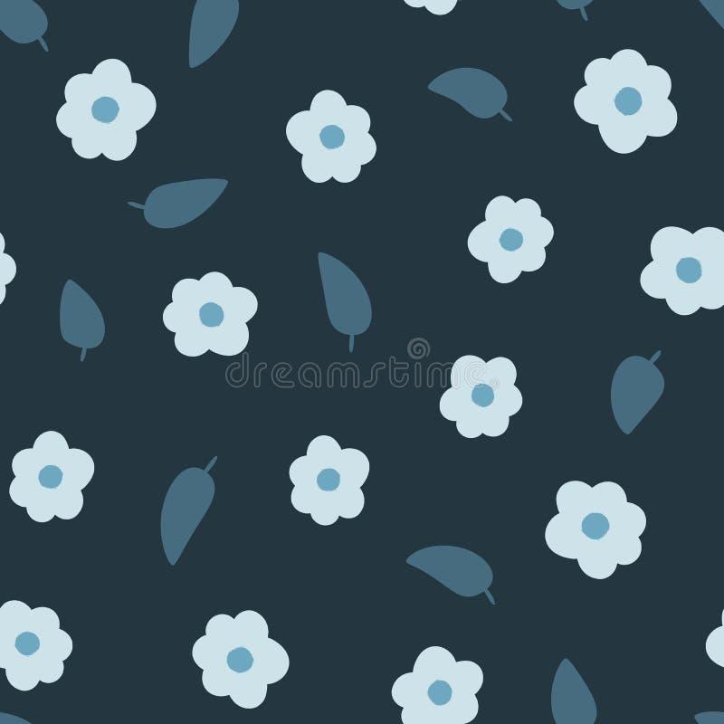 Τυχαία διεσπαρμένα λουλούδια και φύλλα floral πρότυπο άνευ ραφής διανυσματική απεικόνιση