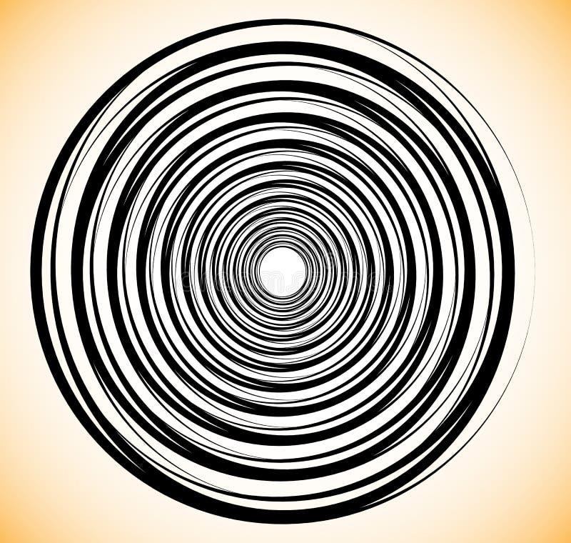 Τυχαίοι ομόκεντροι κύκλοι Αφηρημένη γεωμετρική σπείρα, στρόβιλος elem διανυσματική απεικόνιση