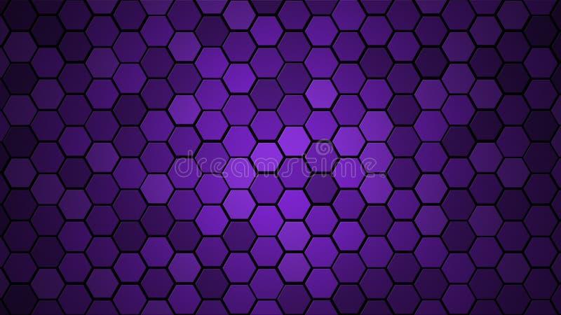 Τυχαίο υπόβαθρο κεραμιδιών κυψελωτού πλέγματος ή εξαγωνική σύσταση κυττάρων στο πρωτόνιο χρώματος πορφυρό ή ιώδες με τη σκοτεινή  στοκ εικόνα