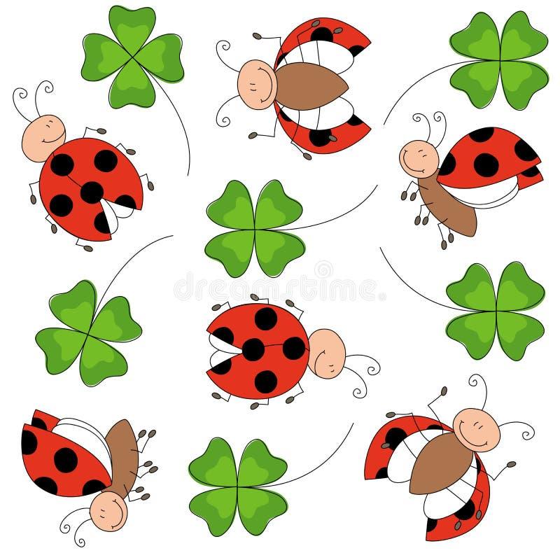 Τυχερά ευτυχή ladybugs με το τριφύλλι απεικόνιση αποθεμάτων