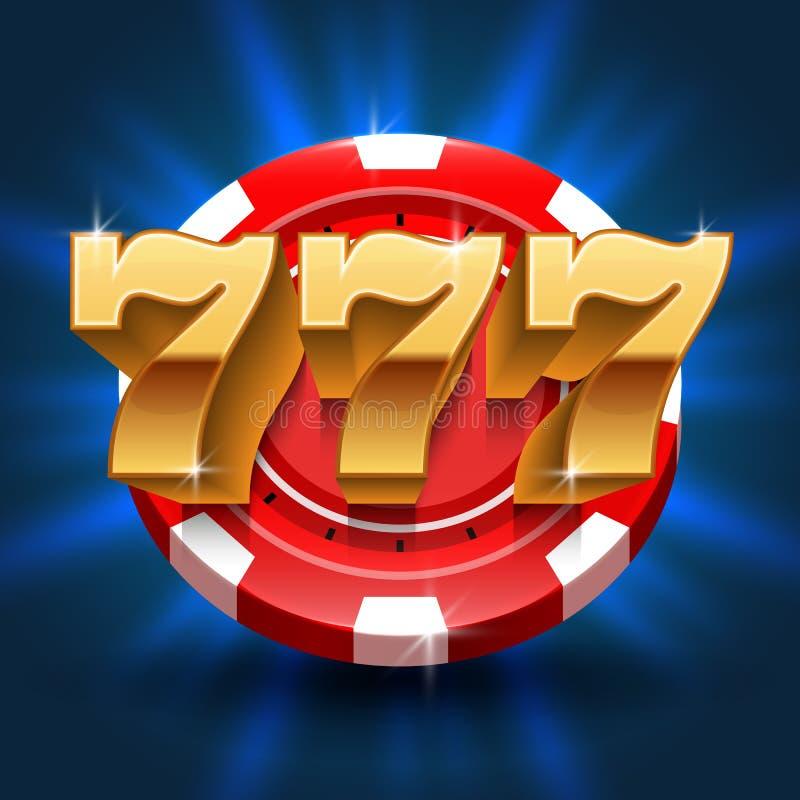 Τυχεροί 777 αριθμοί κερδίζουν το υπόβαθρο αυλακώσεων Διανυσματική έννοια παιχνιδιού και χαρτοπαικτικών λεσχών ελεύθερη απεικόνιση δικαιώματος