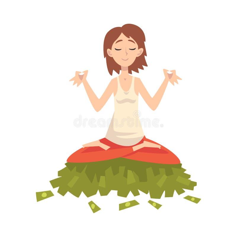 Τυχερός επιτυχής πλούσιος εκατομμυριούχος κοριτσιών, πλούσια νέα γυναίκα Meditating καθμένος στο σωρό του διανύσματος χρημάτων διανυσματική απεικόνιση