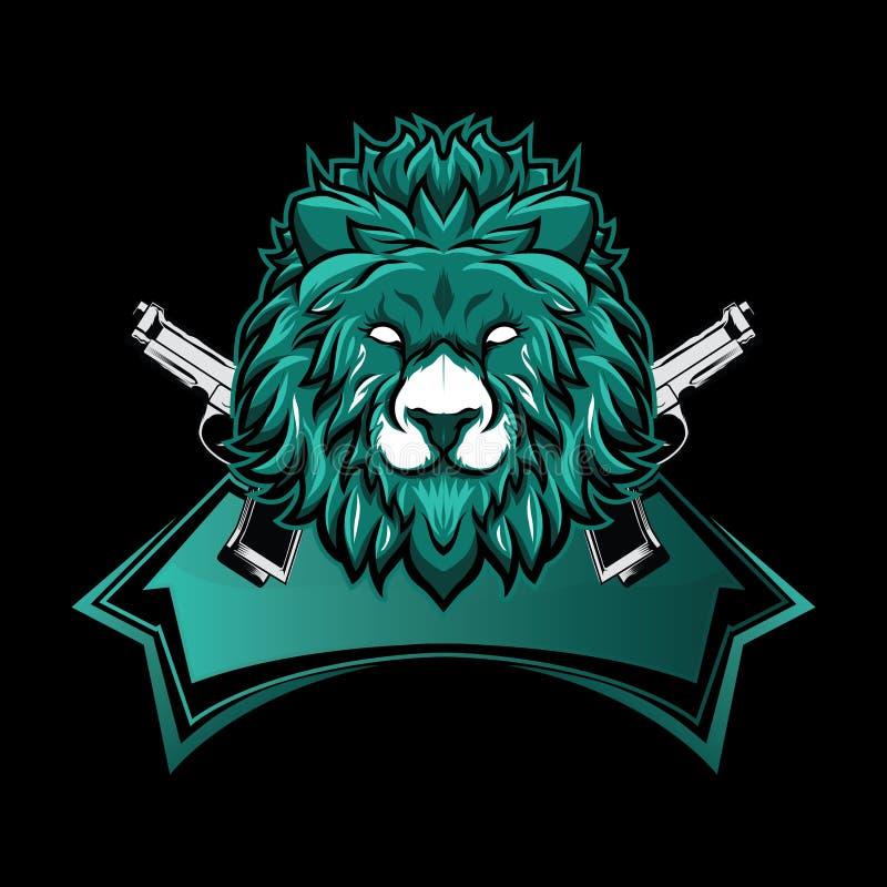 Τυχερό παιχνίδι λογότυπων μασκότ λιονταριών esport διανυσματική απεικόνιση