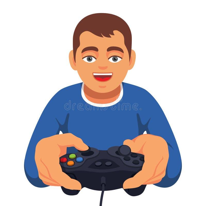Τυχερό παιχνίδι αγοριών εφήβων με τον ελεγκτή gamepad ελεύθερη απεικόνιση δικαιώματος