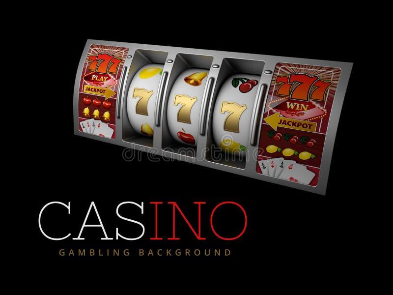 Τυχερό τριπλό επτά τζακ ποτ, ασημένιο μηχάνημα τυχερών παιχνιδιών με κέρματα Σημάδι των εύκολων χρημάτων κέρδους τρισδιάστατη απε απεικόνιση αποθεμάτων
