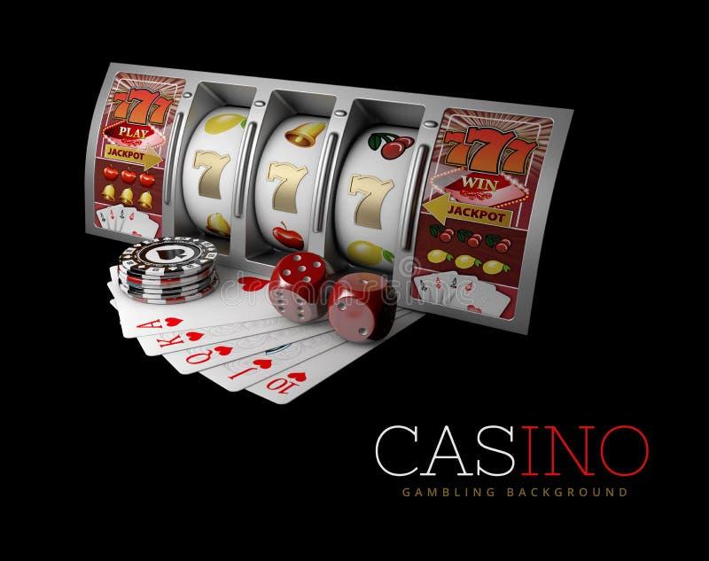 Τυχερό τριπλό επτά τζακ ποτ, ασημένιο μηχάνημα τυχερών παιχνιδιών με κέρματα Σημάδι των εύκολων χρημάτων κέρδους τρισδιάστατη απε ελεύθερη απεικόνιση δικαιώματος