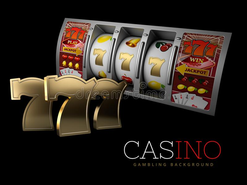 Τυχερό τριπλό τζακ ποτ επτά με το ασημένιο μηχάνημα τυχερών παιχνιδιών με κέρματα Σημάδι των εύκολων χρημάτων κέρδους τρισδιάστατ απεικόνιση αποθεμάτων