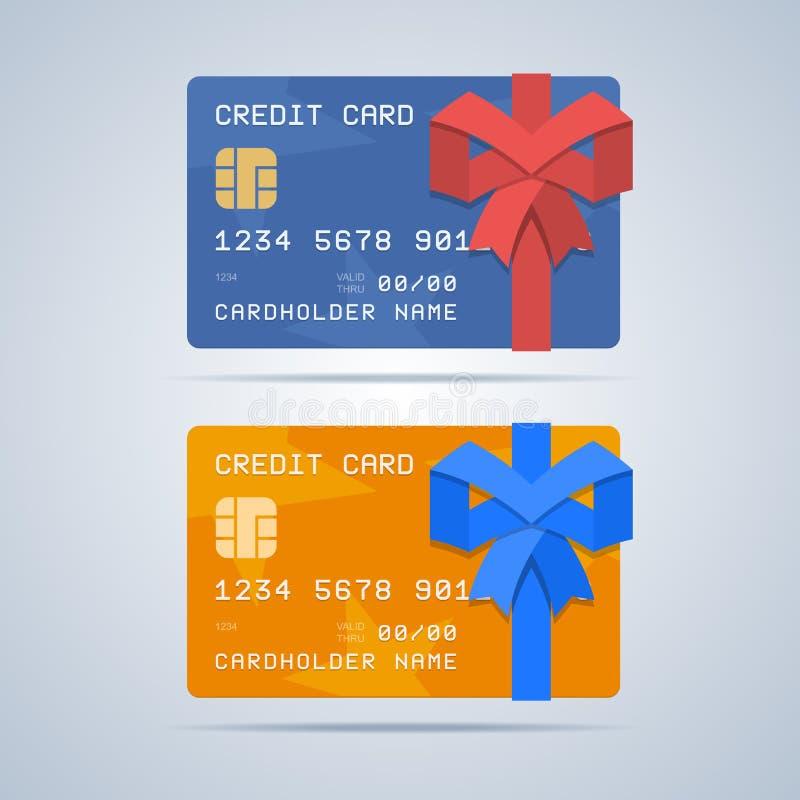 Τυλιγμένη πιστωτική κάρτα δώρων με την κορδέλλα στο επίπεδο ύφος απεικόνιση αποθεμάτων