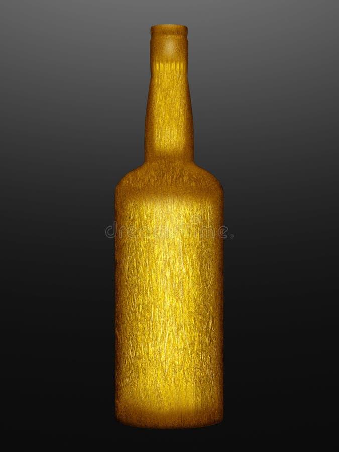 Τυλιγμένο χρυσός μπουκάλι απεικόνιση αποθεμάτων