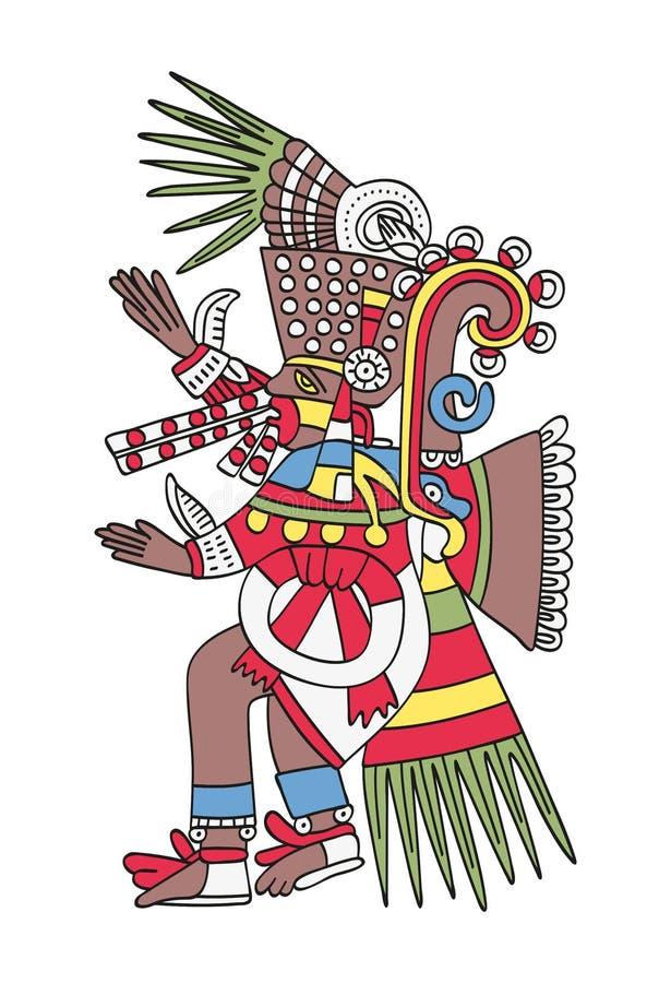 Των Αζτέκων Θεός Tezcatlipoca, ο καπνίζοντας καθρέφτης διανυσματική απεικόνιση