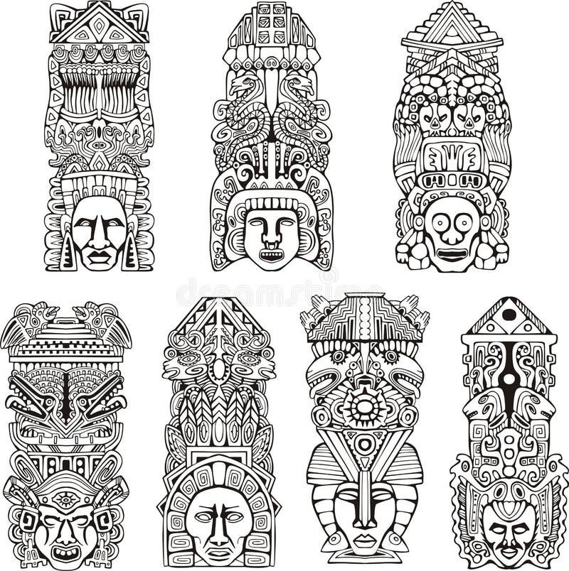 Των Αζτέκων πόλοι τοτέμ ελεύθερη απεικόνιση δικαιώματος
