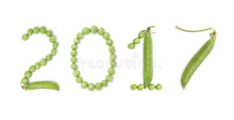2017 των αριθμών με τα πράσινα μπιζέλια στοκ εικόνες