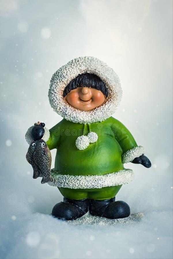 Των Εσκιμώων αριθμός στο χιόνι για τα Χριστούγεννα στοκ φωτογραφίες